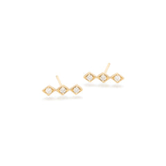 14k tiny diamond shaped bar studs