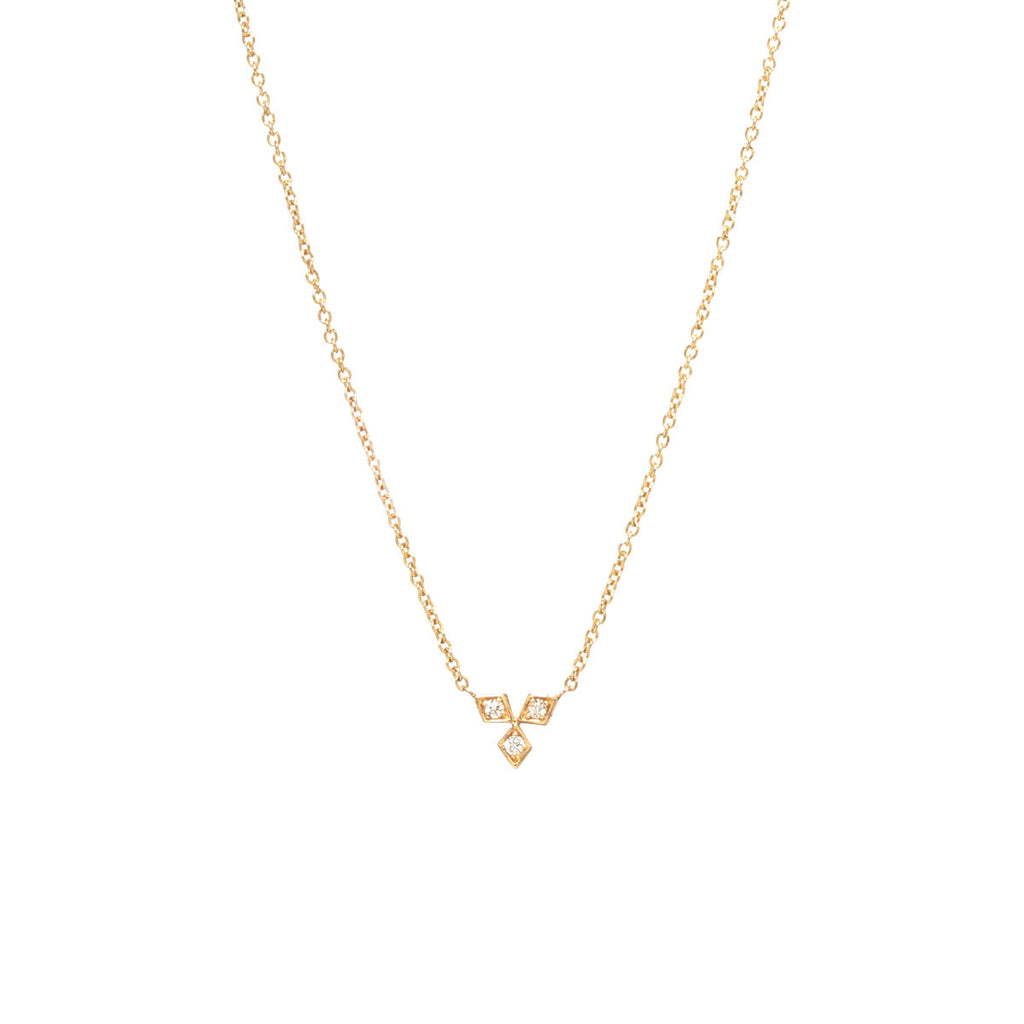 14k tiny diamond trio necklace
