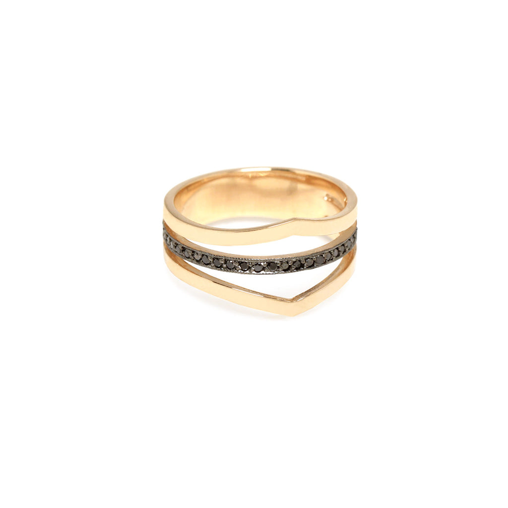 14k 3 band black pave ring