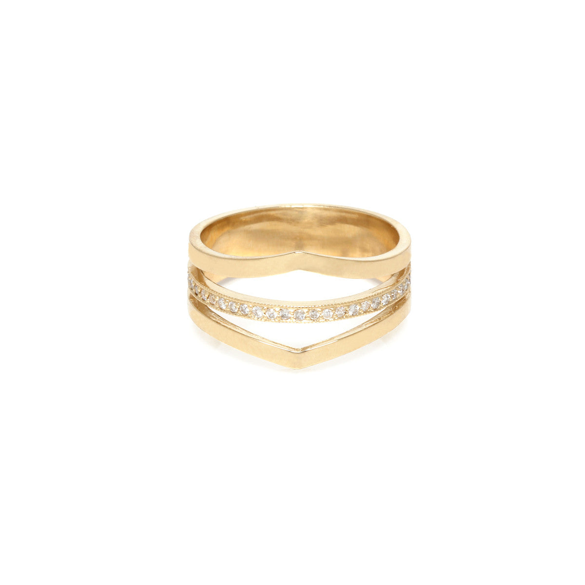 14k 3 band pave ring