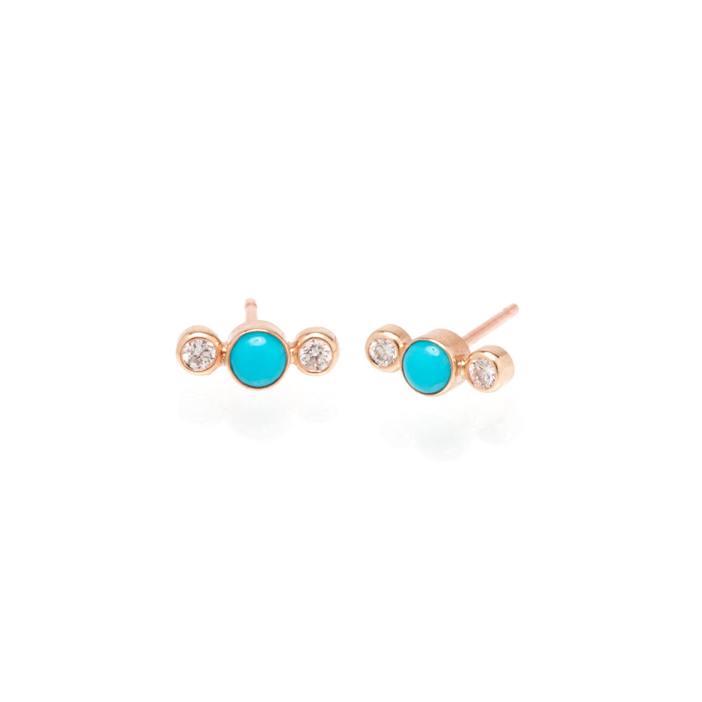 14k turquoise and bezel diamond bar studs