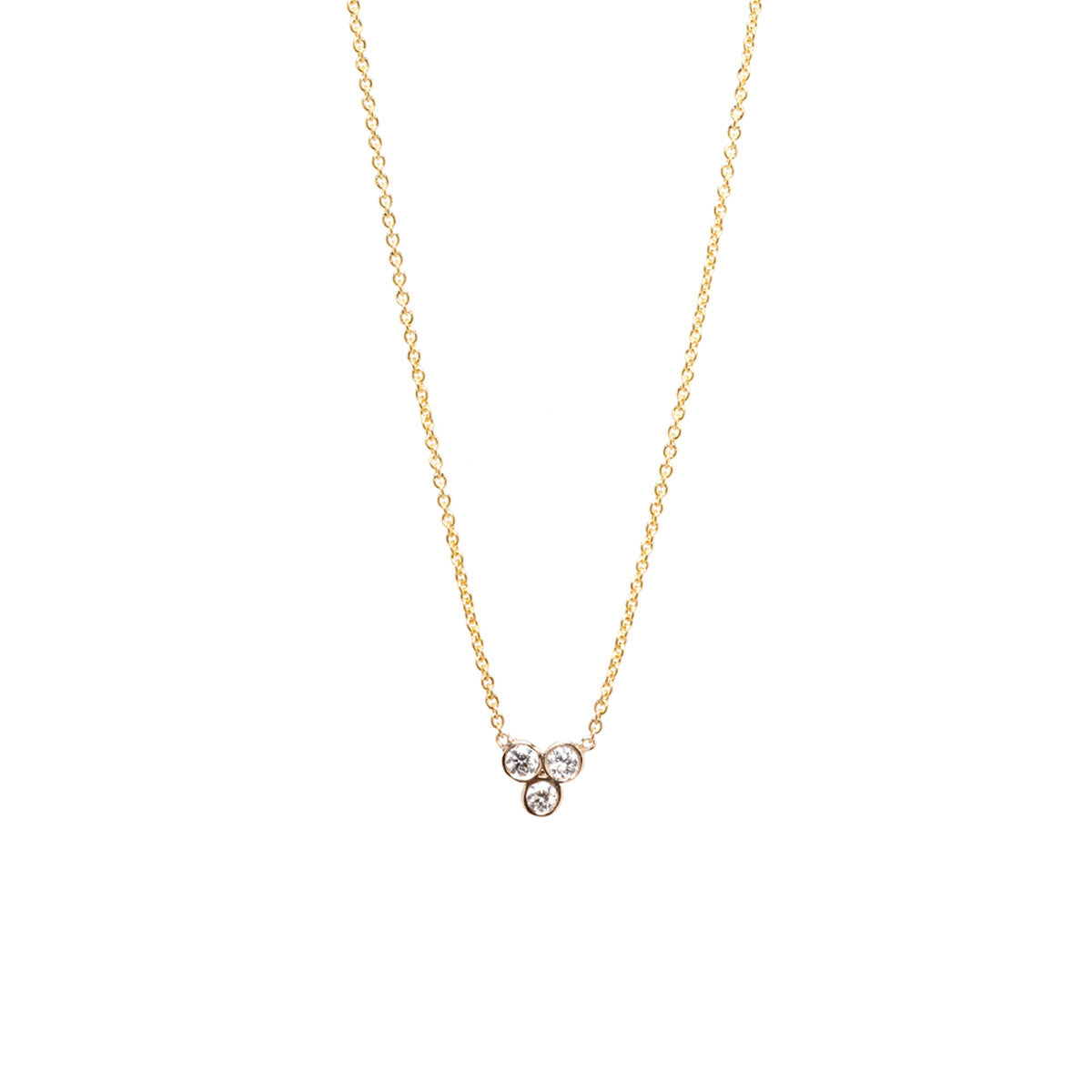 14k trio diamond necklace