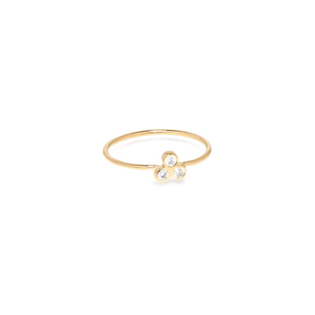 Zoë Chicco 14kt Yellow Gold White Diamond Trio Ring