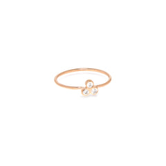 Zoë Chicco 14kt Rose Gold White Diamond Trio Ring
