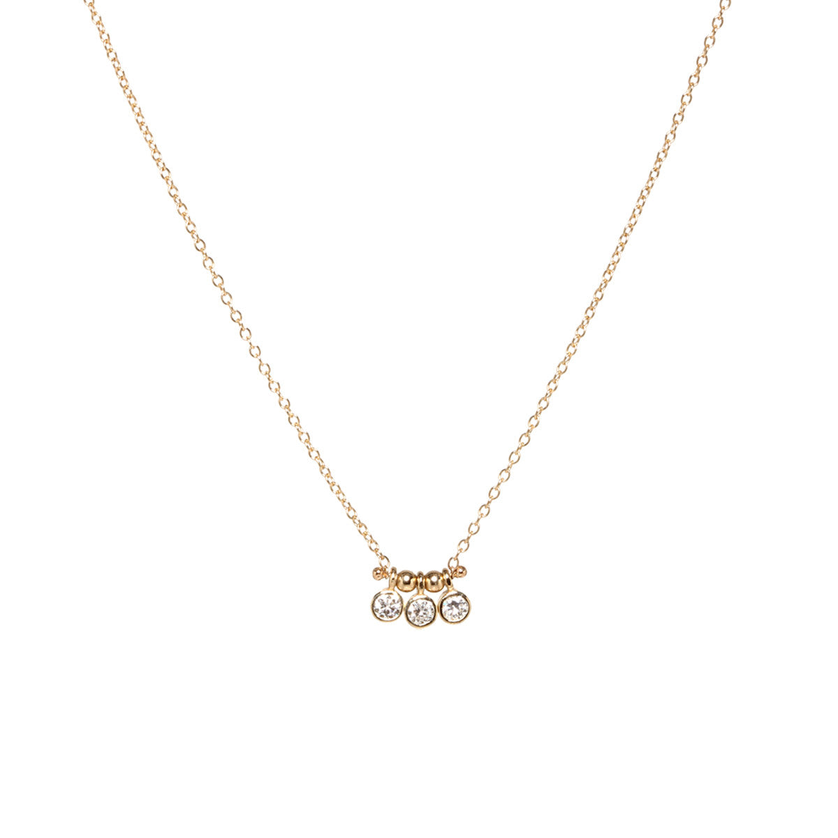 14k 3 bezel set diamond choker necklace