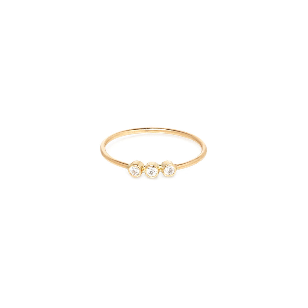 Zoë Chicco 14kt Yellow Gold 3 Bezel Set White Diamond Ring