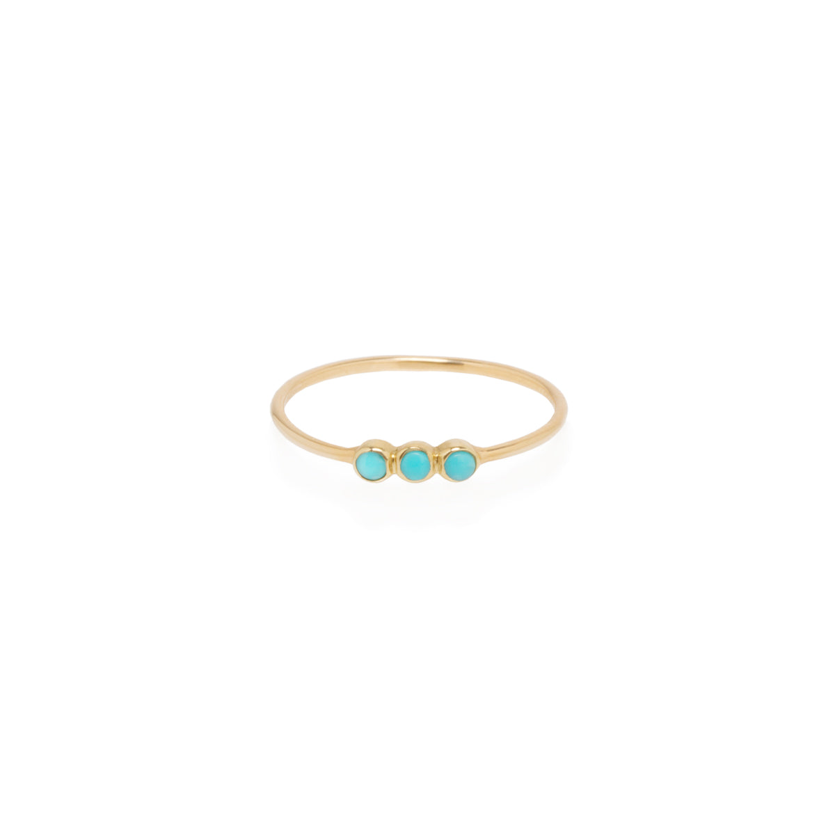Zoë Chicco 14kt Yellow Gold 3 Turquoise Bezel Set Thin Band Ring