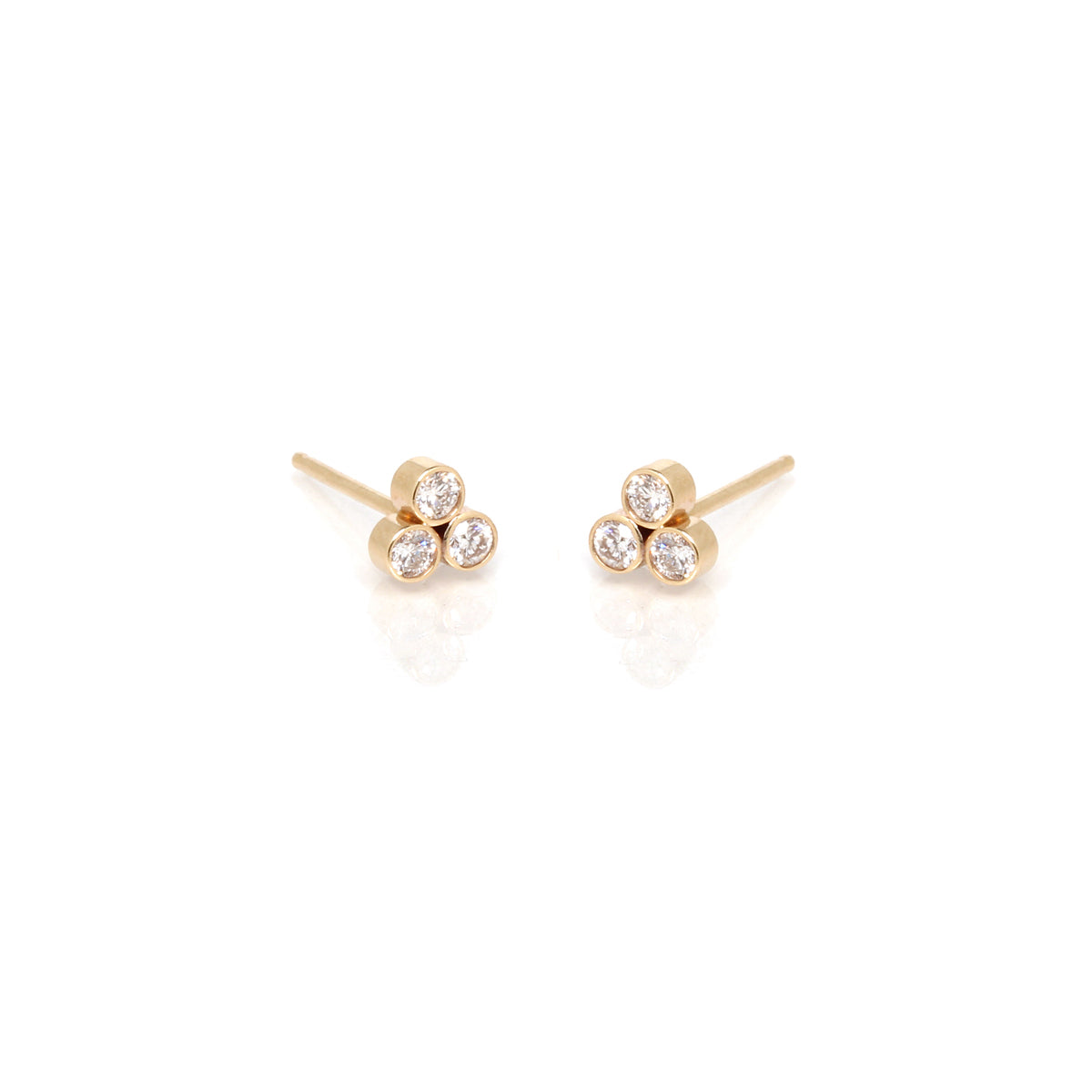 14k trio diamond studs