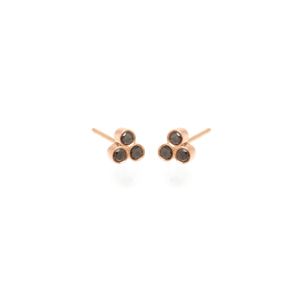 Zoë Chicco 14kt Rose Gold Black Diamond Trio Diamond Studs