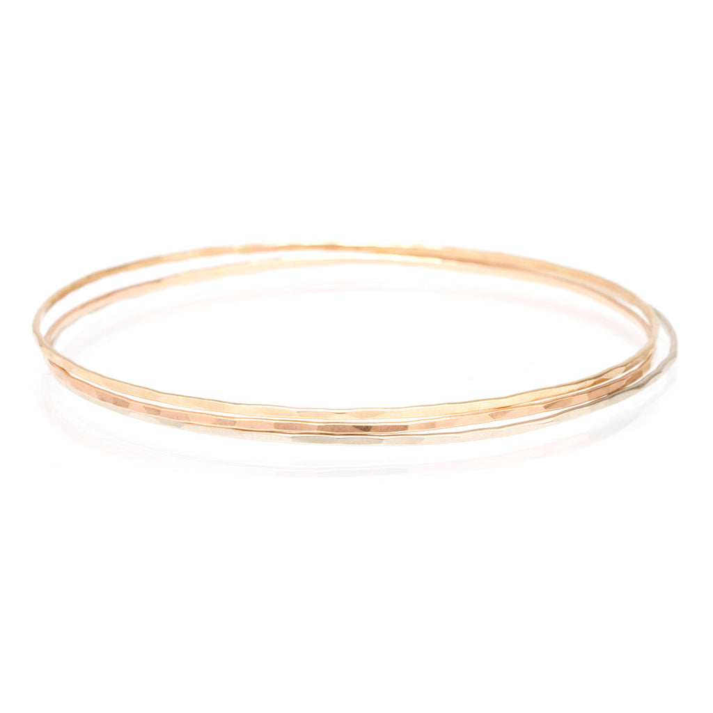 14k mixed thin bangles