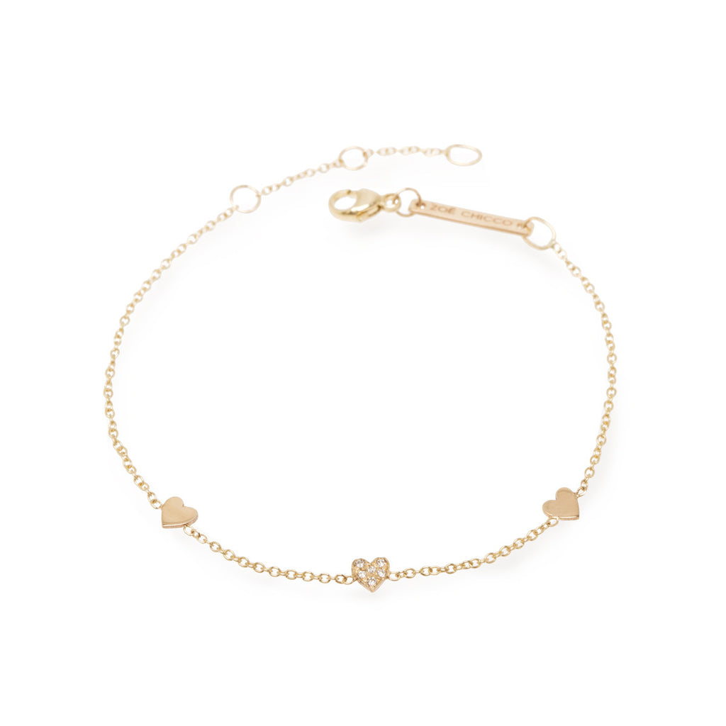 14k pave diamond and plain itty bitty hearts bracelet