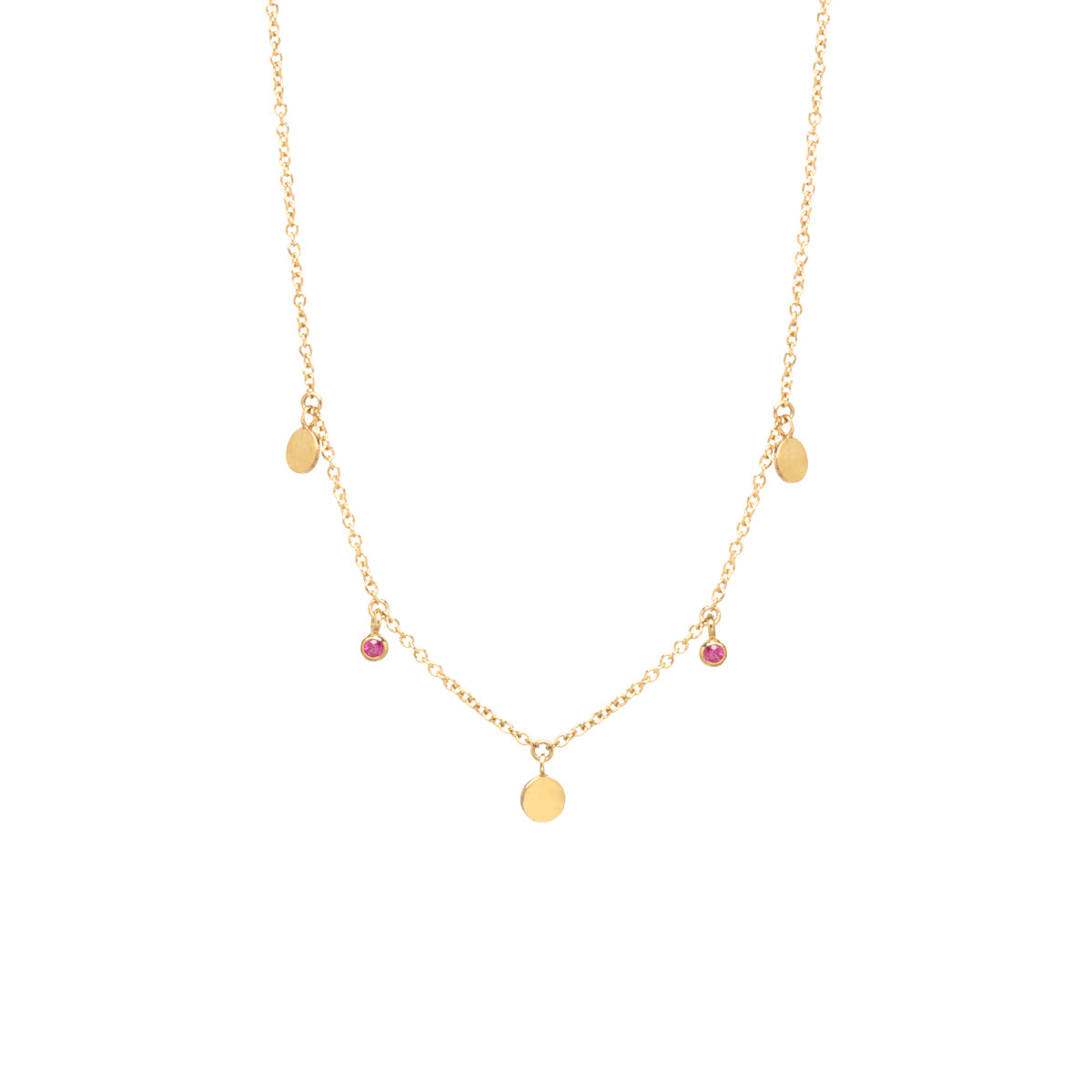14k 3 Itty Bitty Dangling Disc & Ruby Necklace