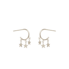 14k itty bitty dangling star huggie hoops