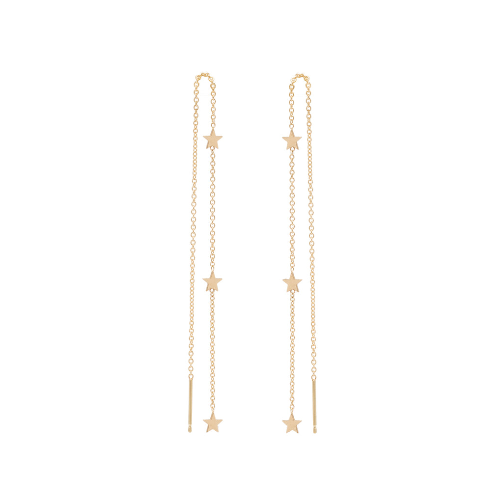 Zoë Chicco 14kt Yellow Gold 3 Itty Bitty Star Threader Earrings