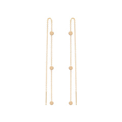 Zoë Chicco 14kt Yellow Gold Itty Bitty 3 Round Disc Threader Earrings