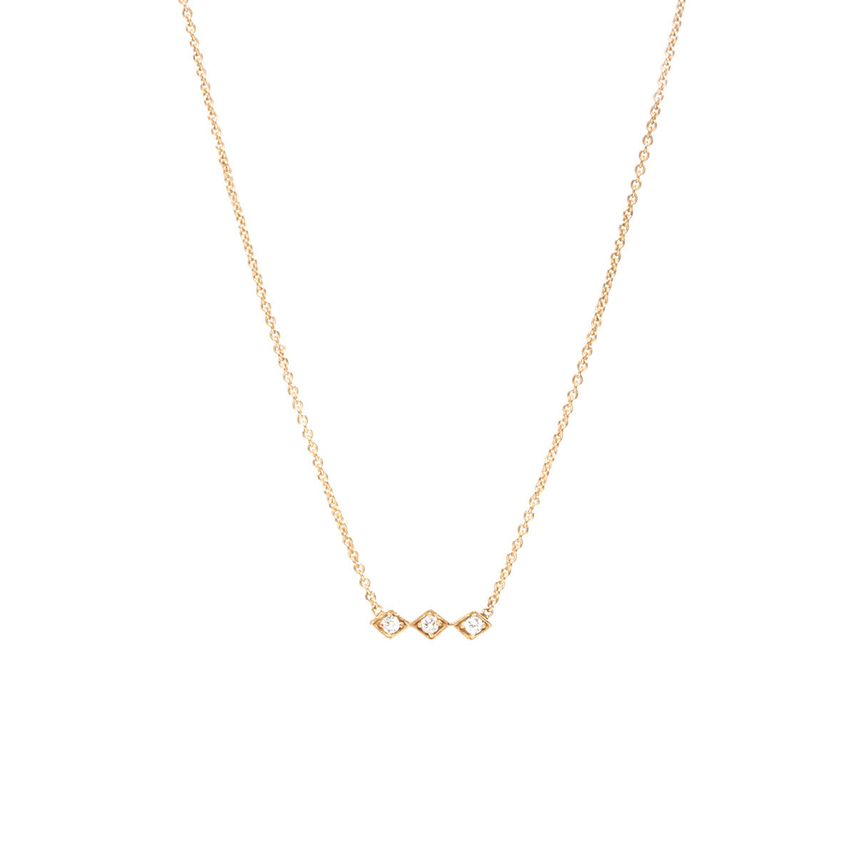 Zoë Chicco 14kt Yellow Gold 3 Tiny Diamond Shape White Diamond Bar Necklace