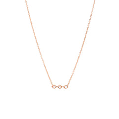 Zoë Chicco 14kt Rose Gold 3 Tiny Diamond Shape White Diamond Bar Necklace