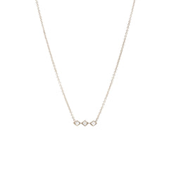 Zoë Chicco 14kt White Gold 3 Tiny Diamond Shape White Diamond Bar Necklace
