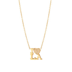"14k pave ""I heart LA"" necklace"