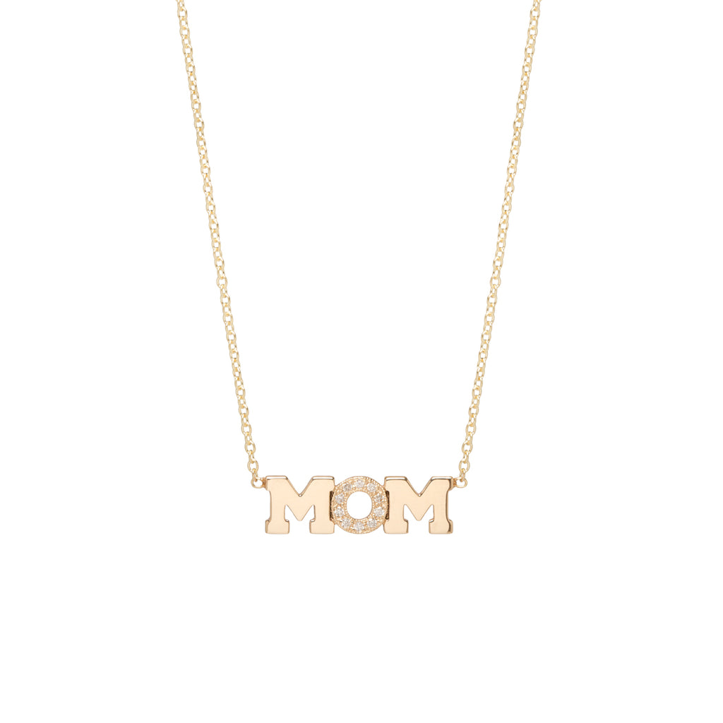 14k gold 3 letter pave necklace
