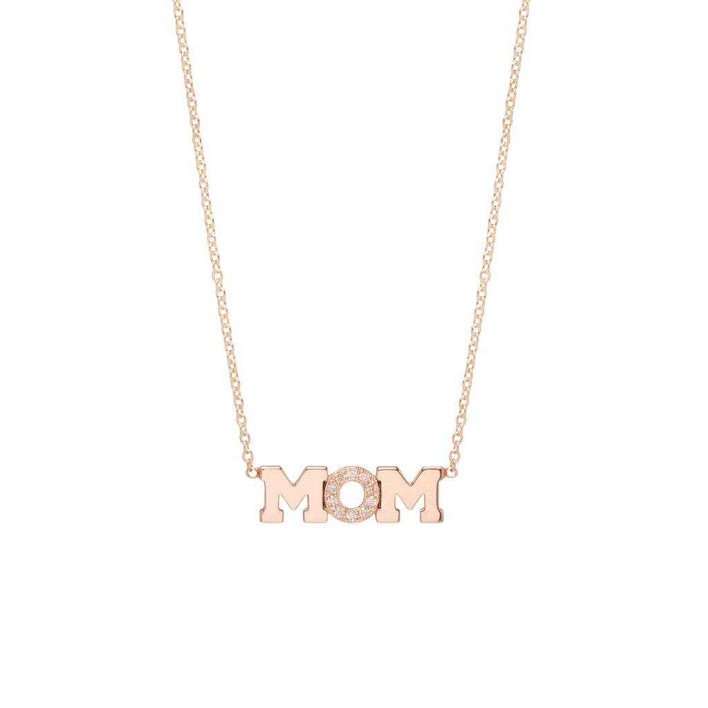 14k gold 3 letter pave diamond necklace