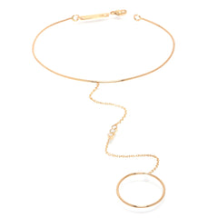 14k ring and cuff hand chain