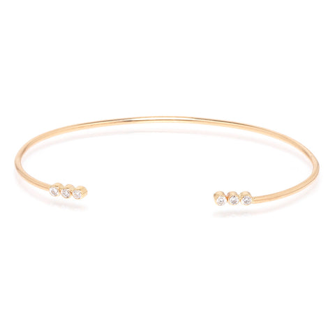 14k 3 diamond open cuff