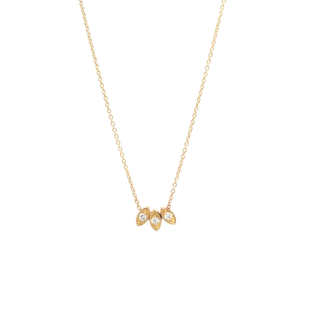 14k marquis fan necklace