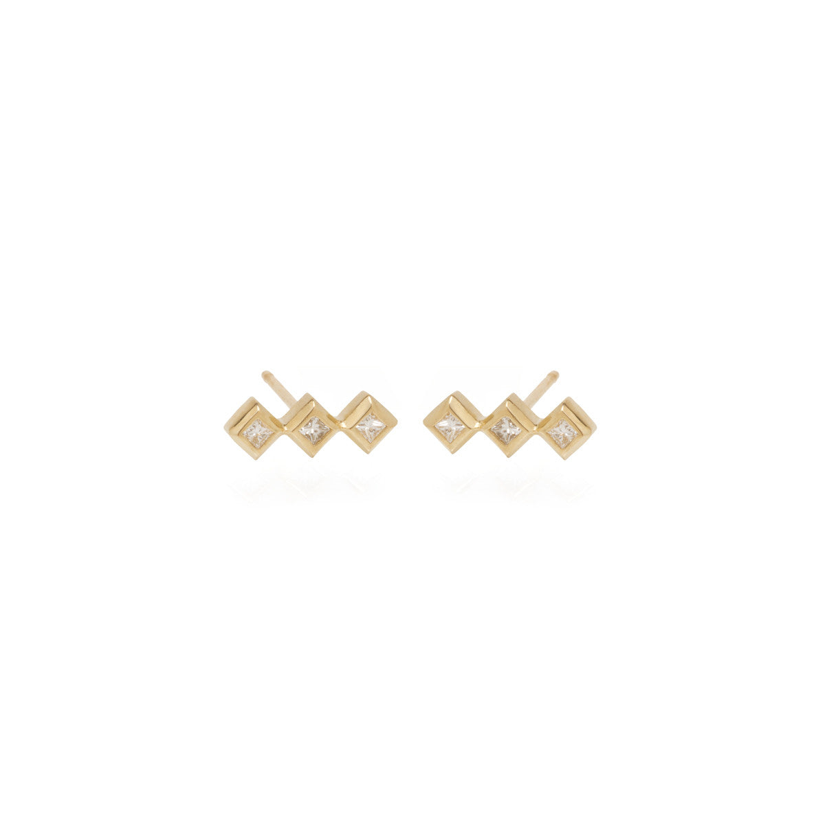 14k 3 small princess diamond bar studs