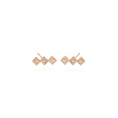 14k 3 tiny princess diamond bar studs