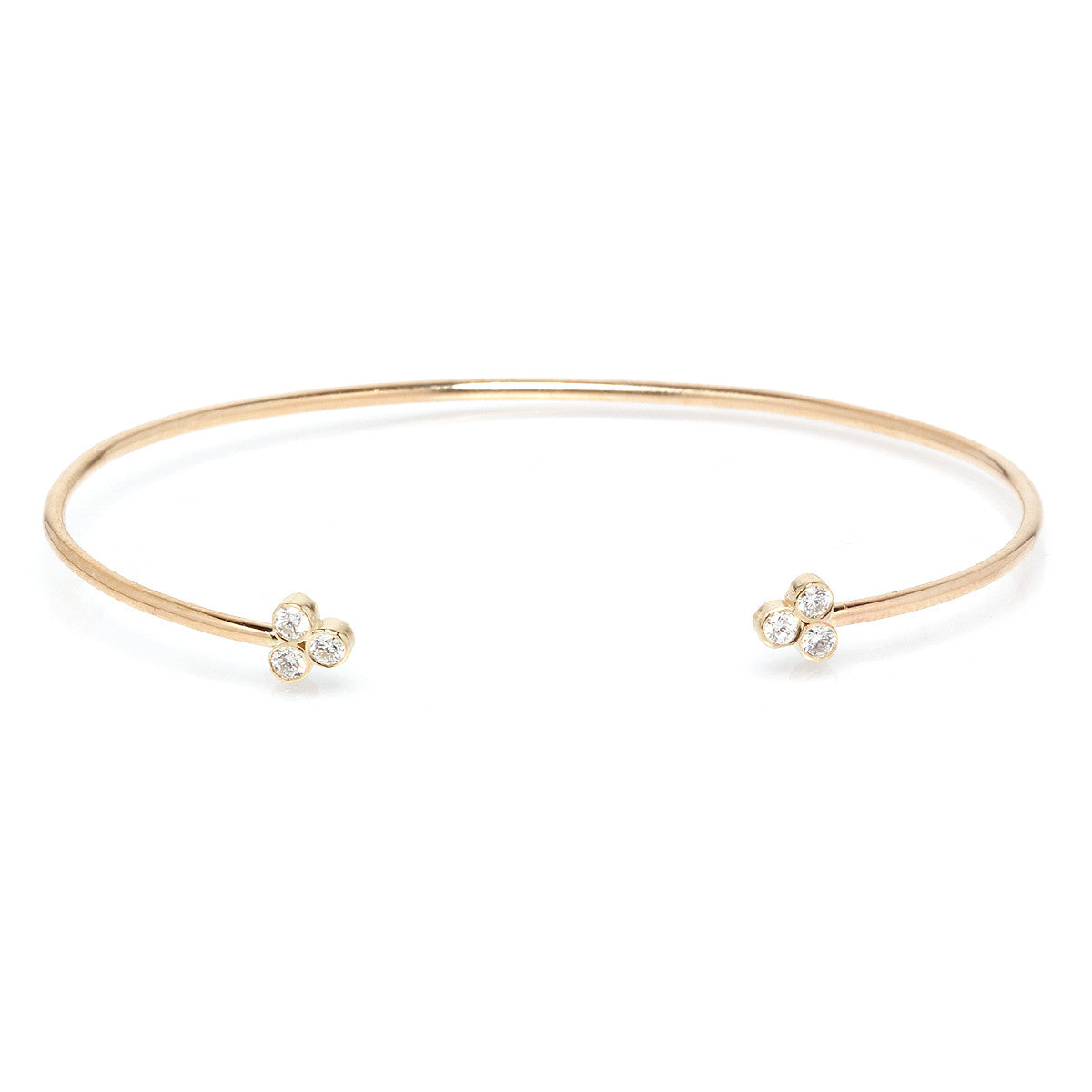 14k diamond trio cuff