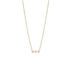 Zoë Chicco 14kt Yellow Gold 3 Horizontal Princess Cut White Diamond Necklace