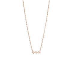 Zoë Chicco 14kt Rose Gold 3 Horizontal Princess Cut White Diamond Necklace