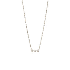 Zoë Chicco 14kt White Gold 3 Horizontal Princess Cut White Diamond Necklace