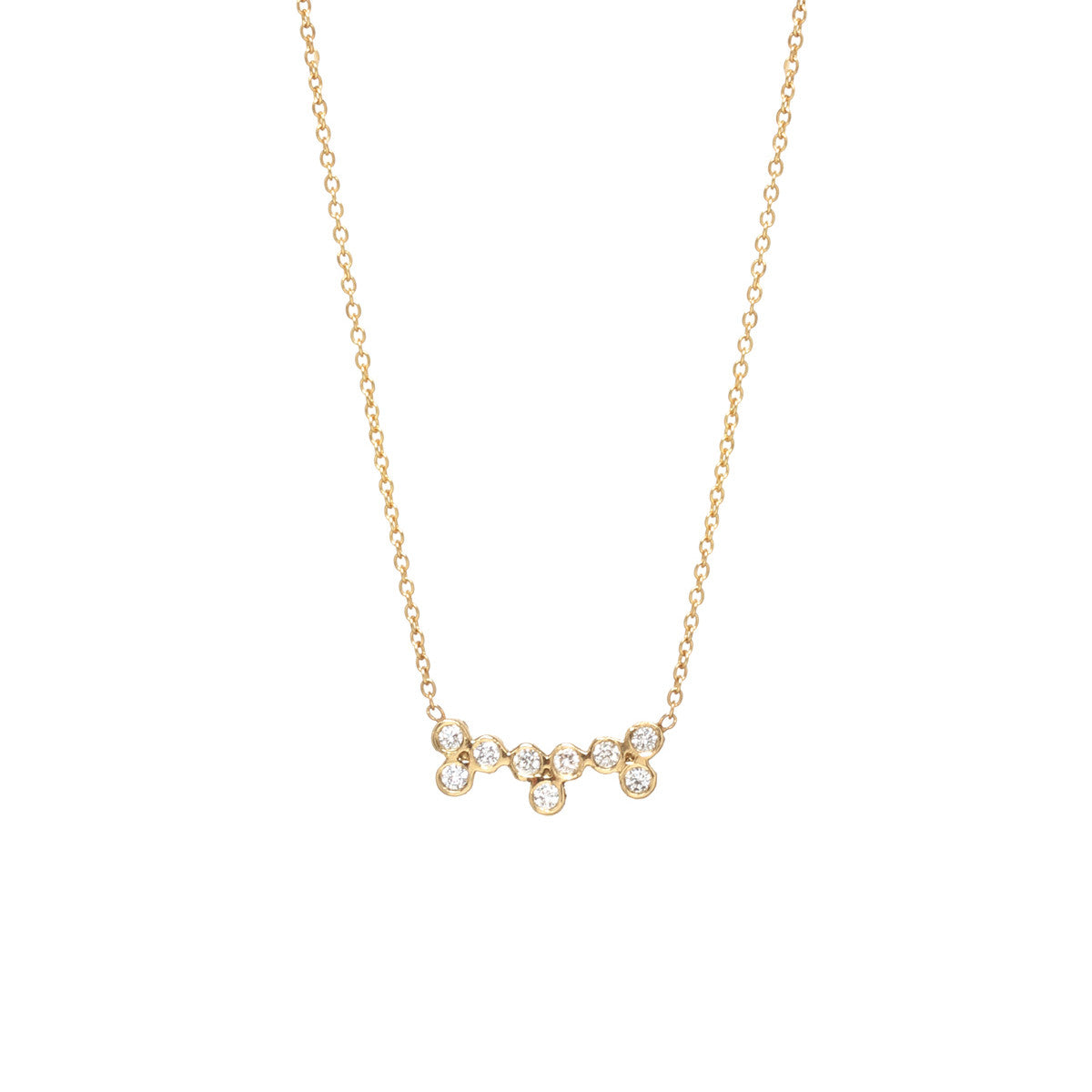 14k triple diamond trio necklace