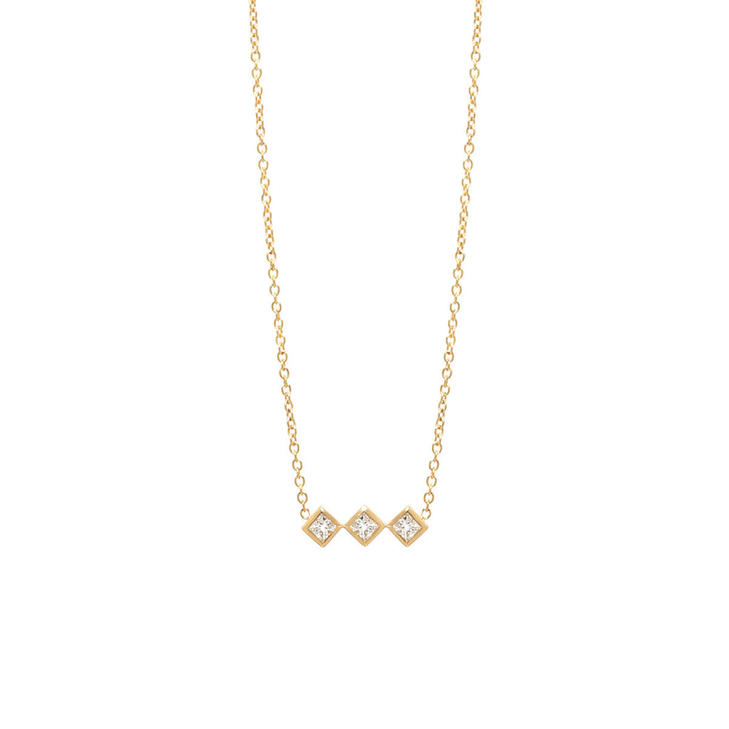 14k 3 diamond bar necklace
