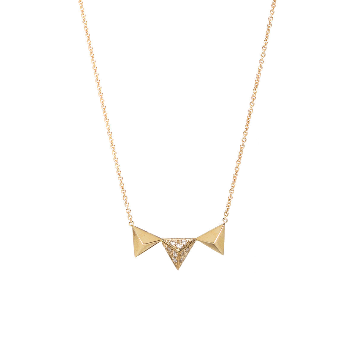 14k 3 triangle pyramids necklace