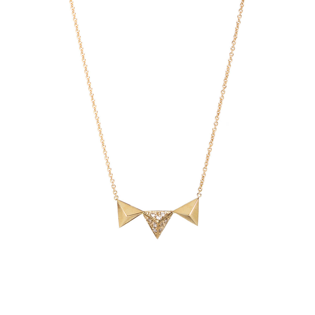 Zoë Chicco 14kt Yellow Gold 3 Triangle Pyramids Necklace