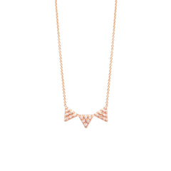 14k 3 triangle pave necklace