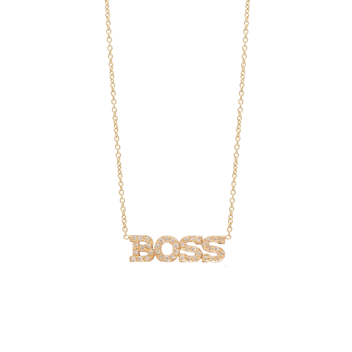 14k 4 pave letter necklace