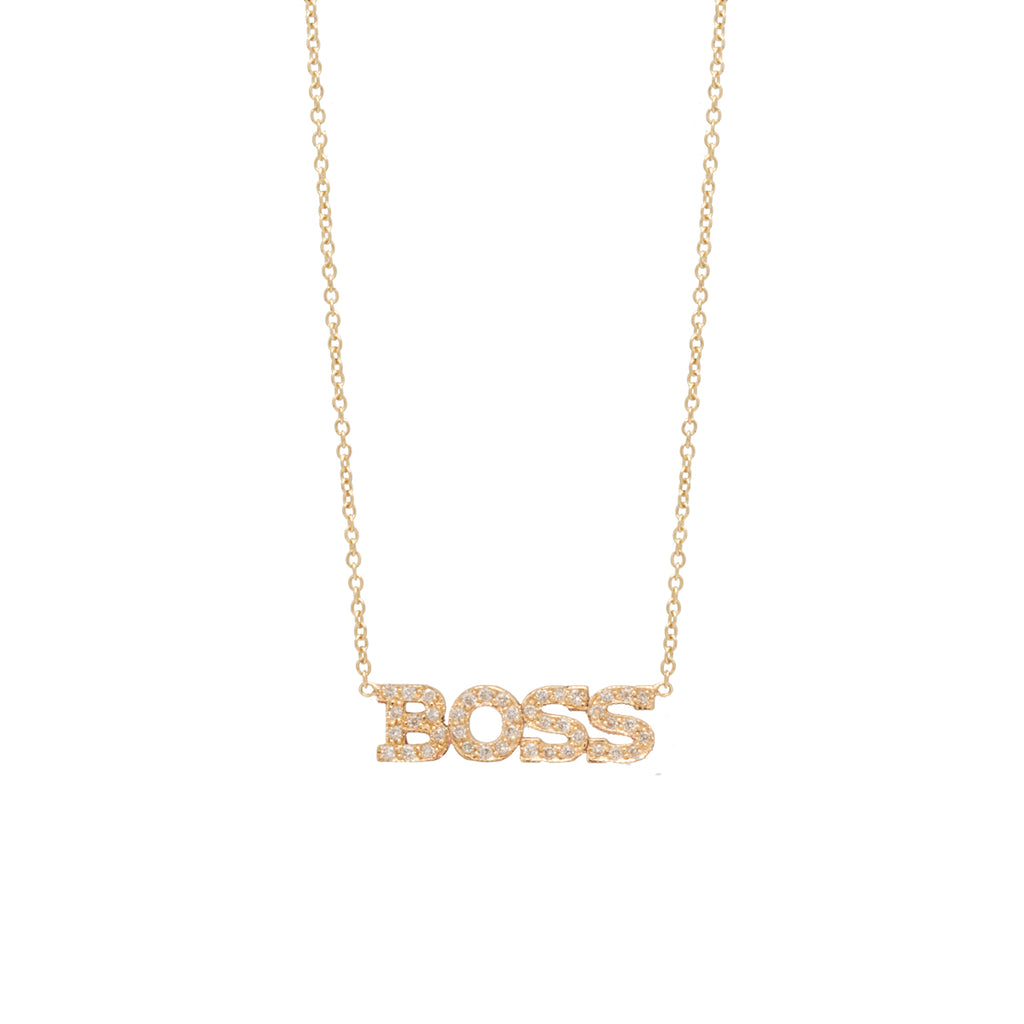 Zoë Chicco 14kt Yellow Gold 4 White Diamond Pave Letter Necklace - BOSS