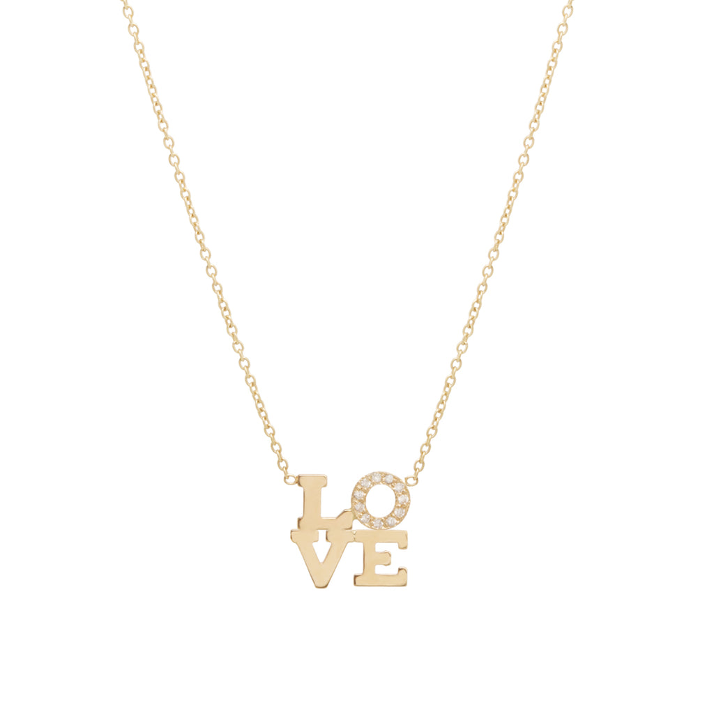 14k pave diamond LETTER necklace