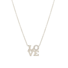 14k pave love necklace