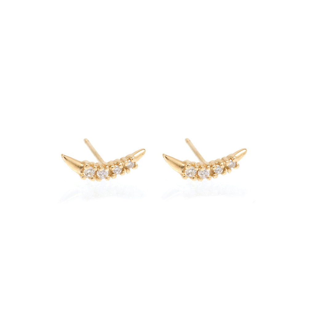 14k prong set diamond curved bar studs