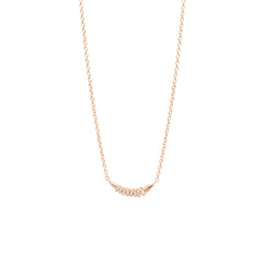 14k prong set diamond curved necklace