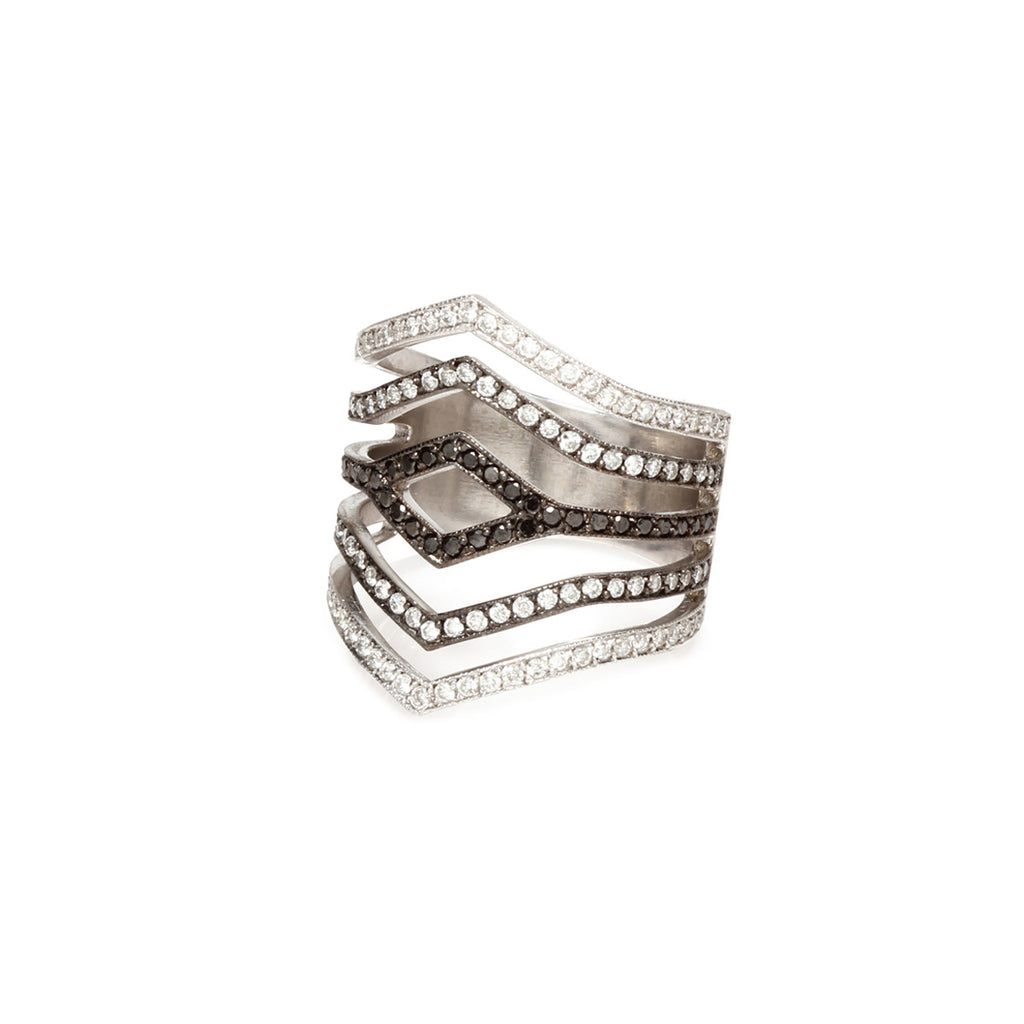 14k ombre pave 5 band ring with open diamond