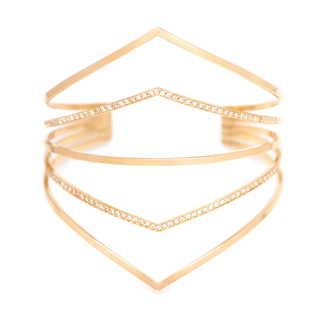 14k 5 band pointed cuff