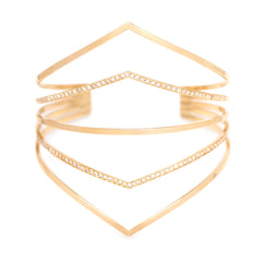 Zoë Chicco 14kt Yellow Gold 5 Bar Pointed Cuff Bracelet with 2 Bars Pave with White Diamonds
