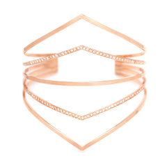 Zoë Chicco 14kt Rose Gold 5 Bar Pointed Cuff Bracelet with 2 Bars Pave with White Diamonds