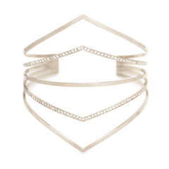 Zoë Chicco 14kt White Gold 5 Bar Pointed Cuff Bracelet with 2 Bars Pave with White Diamonds